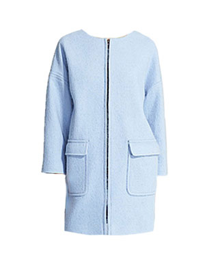 Light Blue Collarless Coat