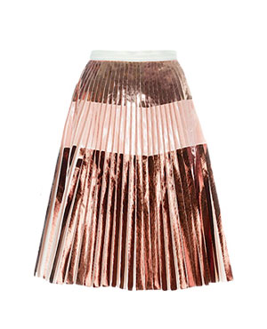 Knee-Length Pleated Pink Skirt